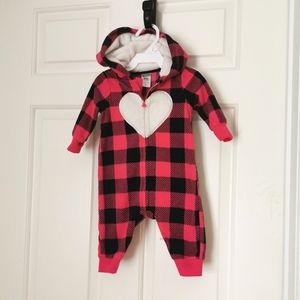 2/$30 Carter's girls fleece jumpsuit size 3 m